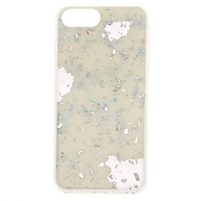Marble and Silver Flake Phone Case - White,