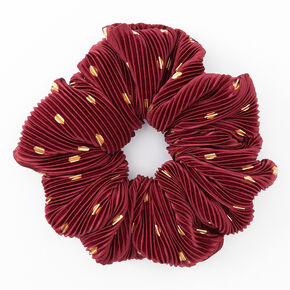 Giant Pleated Polka Dot Hair Scrunchie - Berry,