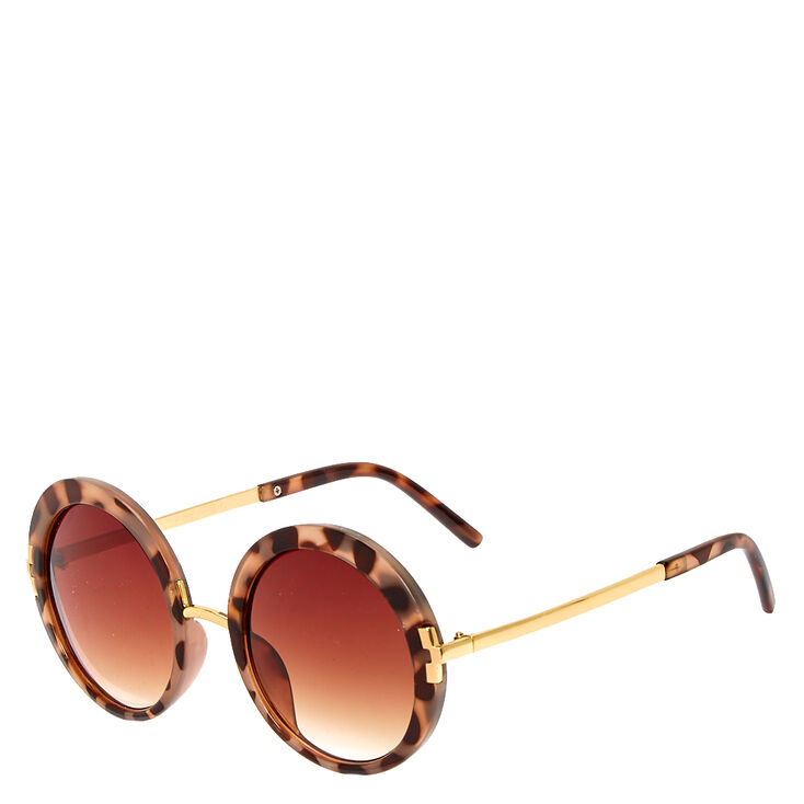 Round Faux Tortoise Shell Sunglasses,