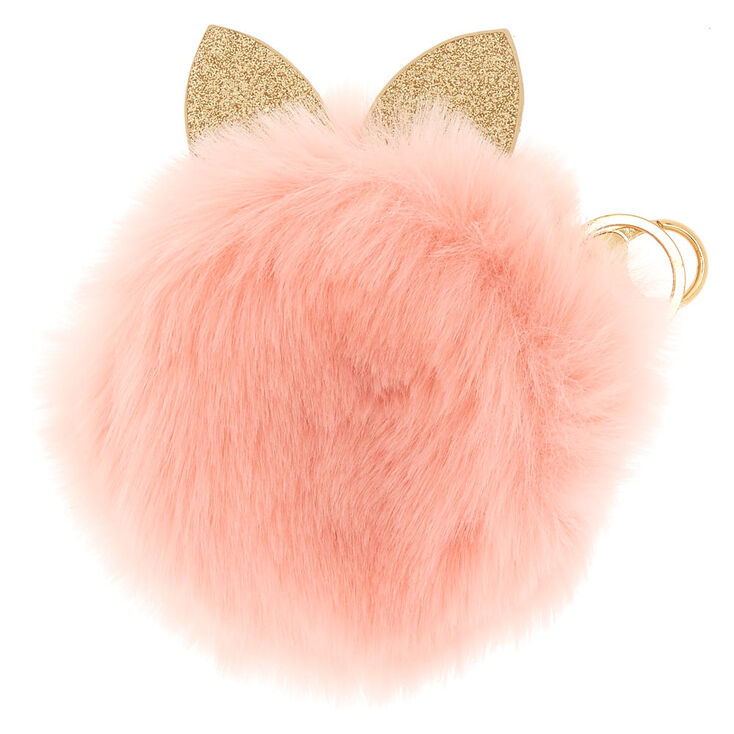 Faux Fur Cat Ears Coin Purse - Pink,