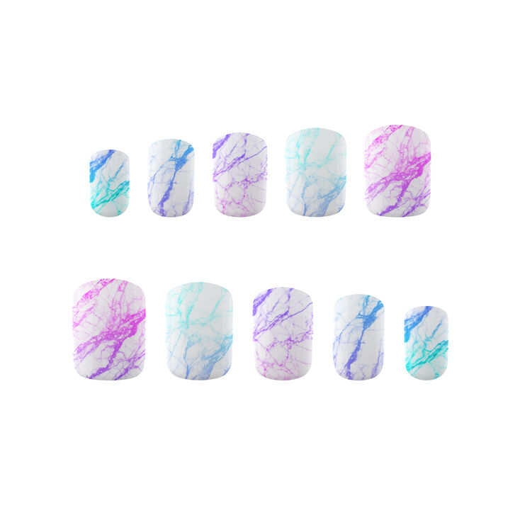 PopSockets PopGrip & Press On Faux Nail Set - Unicorn Marble Spectrum,