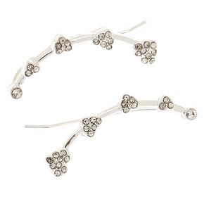 "Silver 1"" Crystal Heart Ear Crawler Earrings,"
