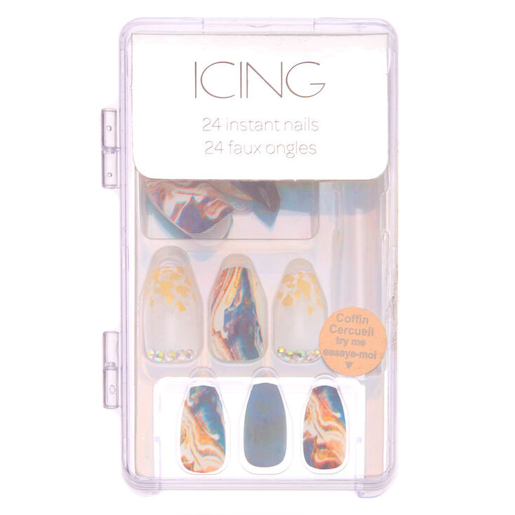 Blue & Gold Marble Coffin Faux Nail Set - 24 Pack,
