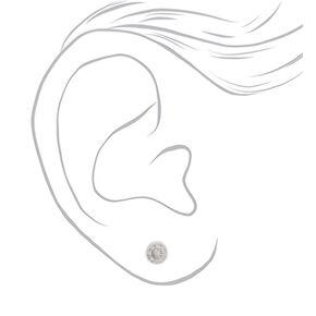 Sterling Silver Cubic Zirconia 4MM Round Bezel Stud Earrings,