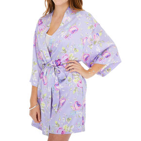 Purple Floral Satin Robe - S/M,