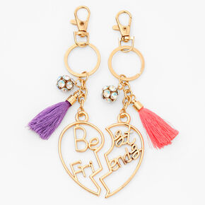 Gold Heart Tassel Best Friends Keychains - 2 Pack,