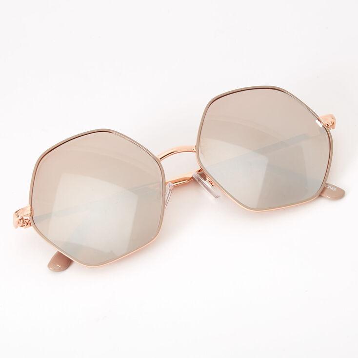 Hexagon Sunglasses - Rose Gold,
