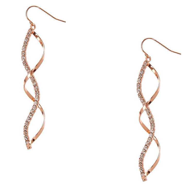 Rose Gold & Crystal Ribbon Curl Drop Earrings,