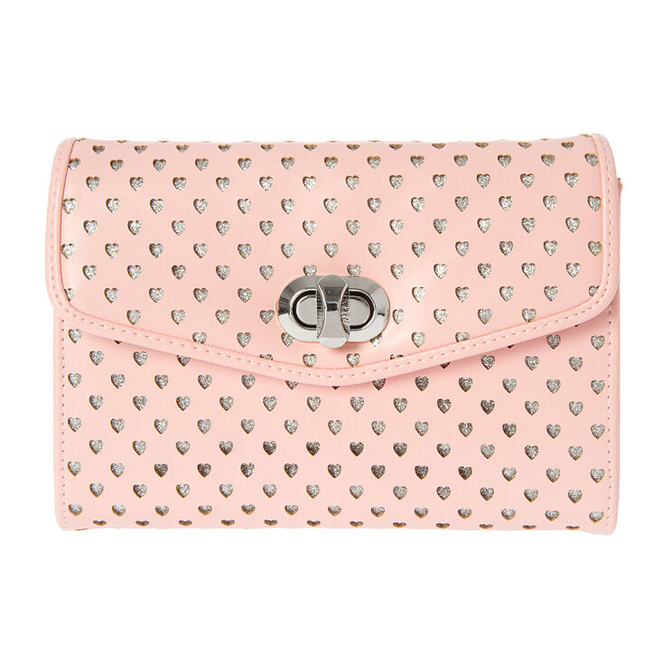 3d80e1ed8 Raleigh Pink Faux Leather Perforated Hearts Crossbody Bag | Icing US