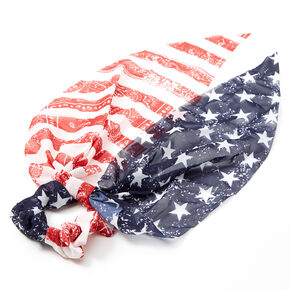 Small American Flag Paisley Bandana Hair Scrunchie Scarf,