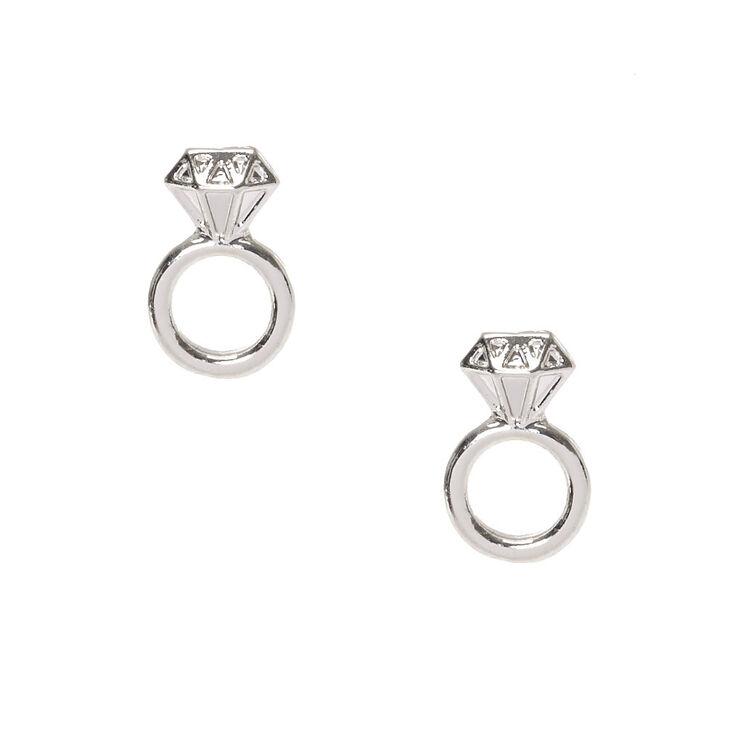 Silver Tone Diamond Engagement Ring Stud Earrings,