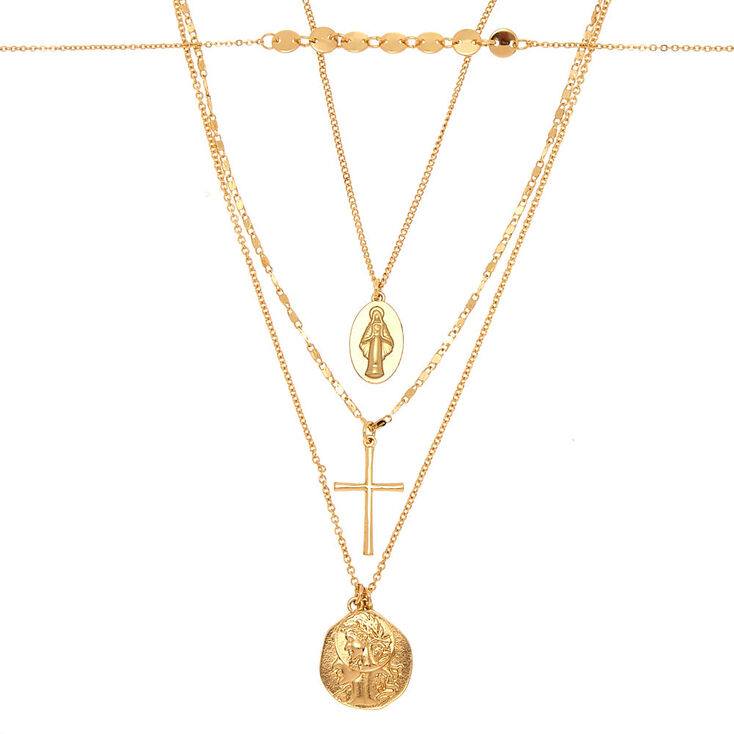 Gold Relic & Cross Multi Strand Necklace,