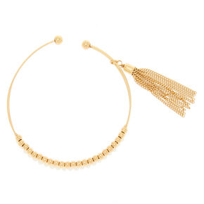 Gold Beaded Cuff Bracelet - White,