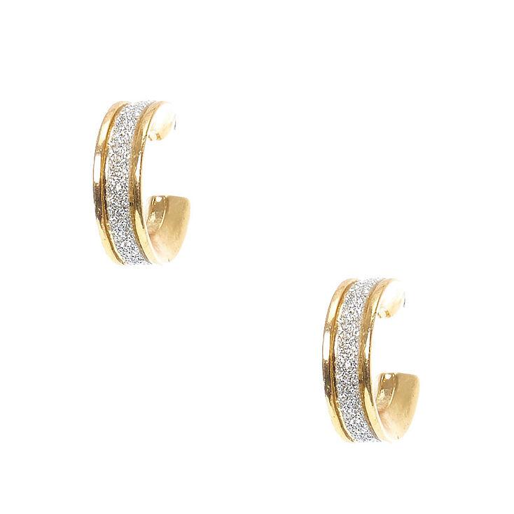 Gold-Tone Silver Glitter Lined Mini Hoop Earrings,