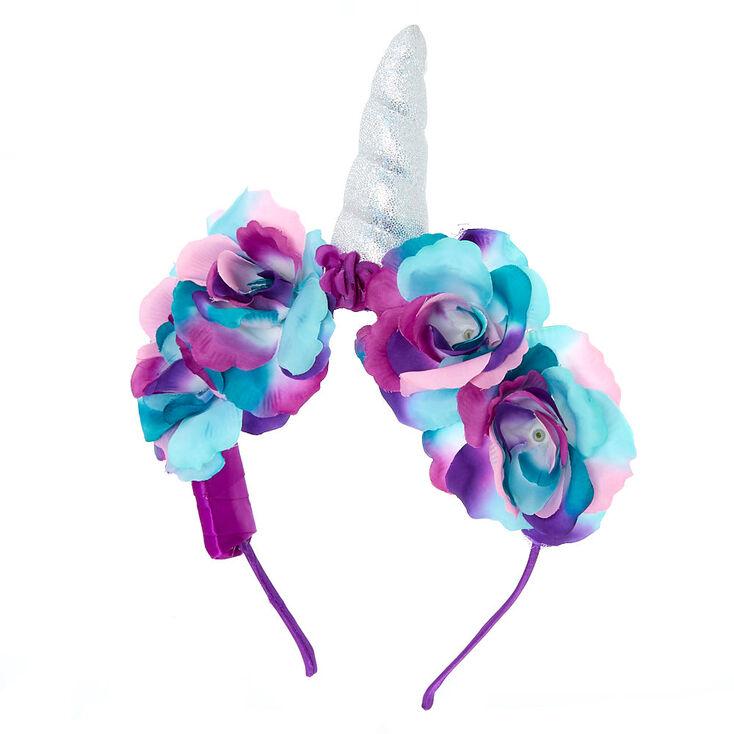 Light Up Holographic Unicorn Flower Crown Headband - Purple,