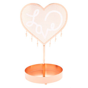 Love Heart Jewelry Holder Stand - Rose Gold,