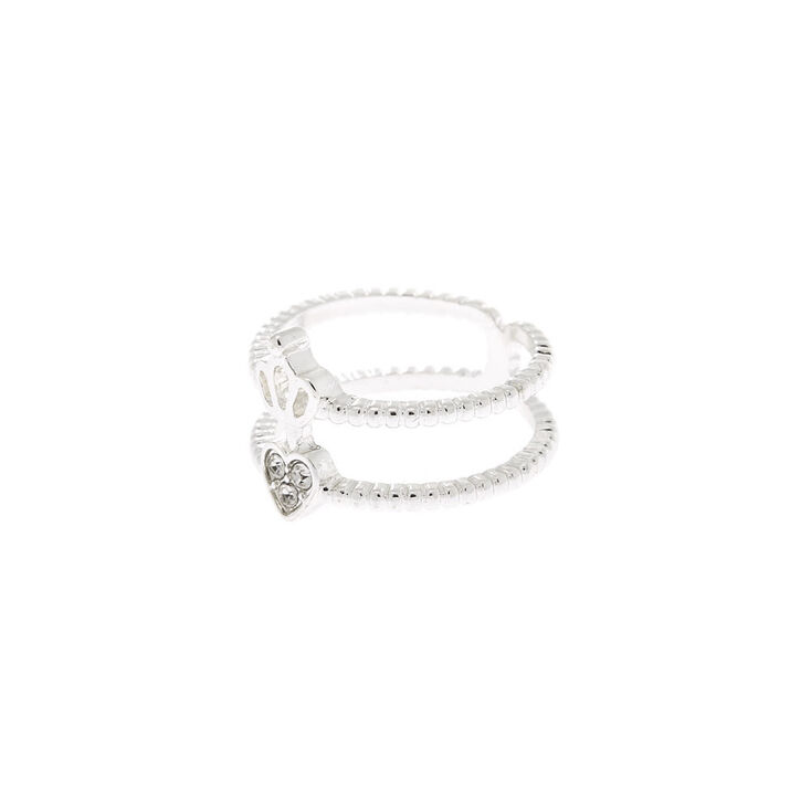 Silver Double Heart Crown Ring,