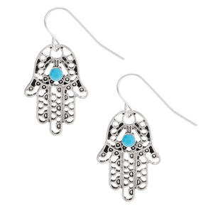 "Silver 1"" Beaded Hamsa Hand Drop Earrings - Turquoise,"