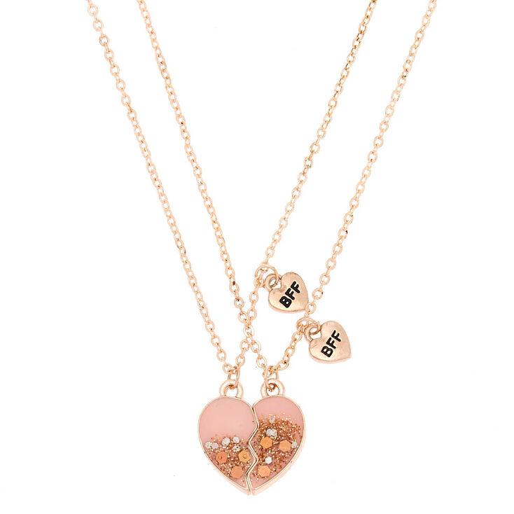 Best Friends Glitter Heart Pendant Necklaces - Pink, 2 Pack,