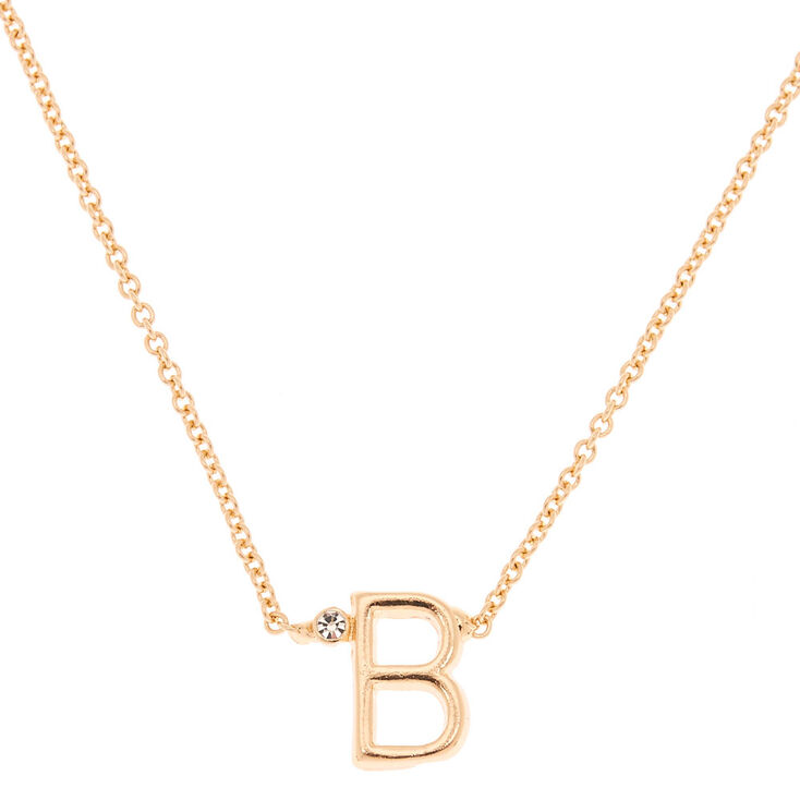 Gold Initial Necklace - B,