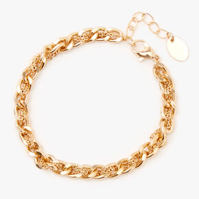 Gold Braided Chain Link Bracelet,