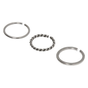 Silver Graduated Sleek Twist Hoop Nose Rings - 3 Pack,