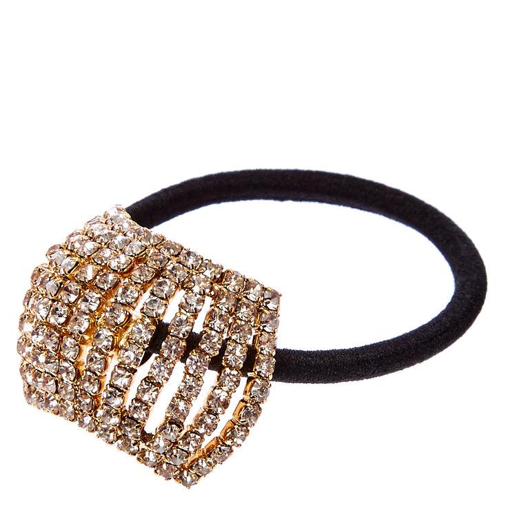 Gold Crystal Bar Hair Tie,