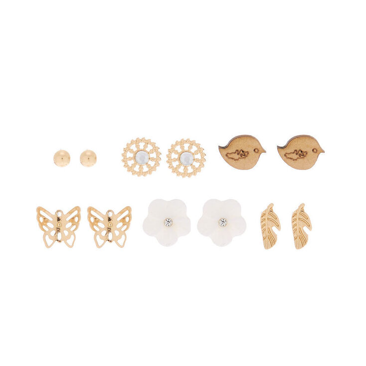 Gold Spring Floral Stud Earrings - 6 Pack,