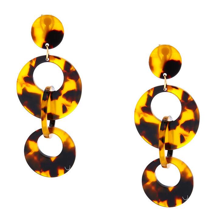 "2.5"" Round Resin Tortoiseshell Link Clip On Drop Earrings - Brown,"