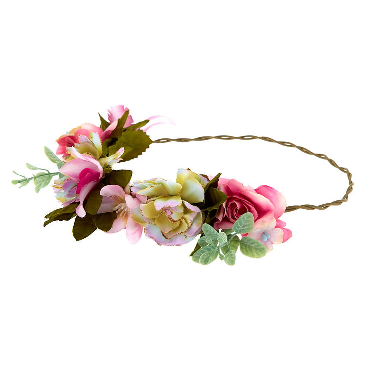 Vintage Succulent Flower Crown Headwrap - Pink,
