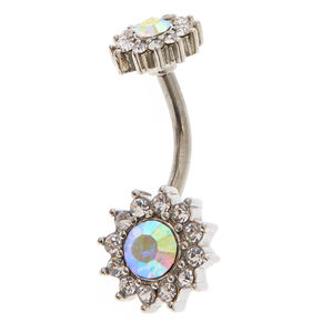 Iridescent Halo Crystal Belly Ring,