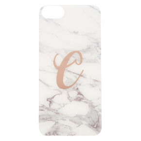 "Marbled ""C"" Initial Phone Case - White,"
