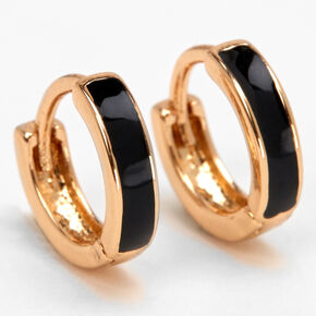 Gold 10MM Huggie Hoop Earrings - Black,