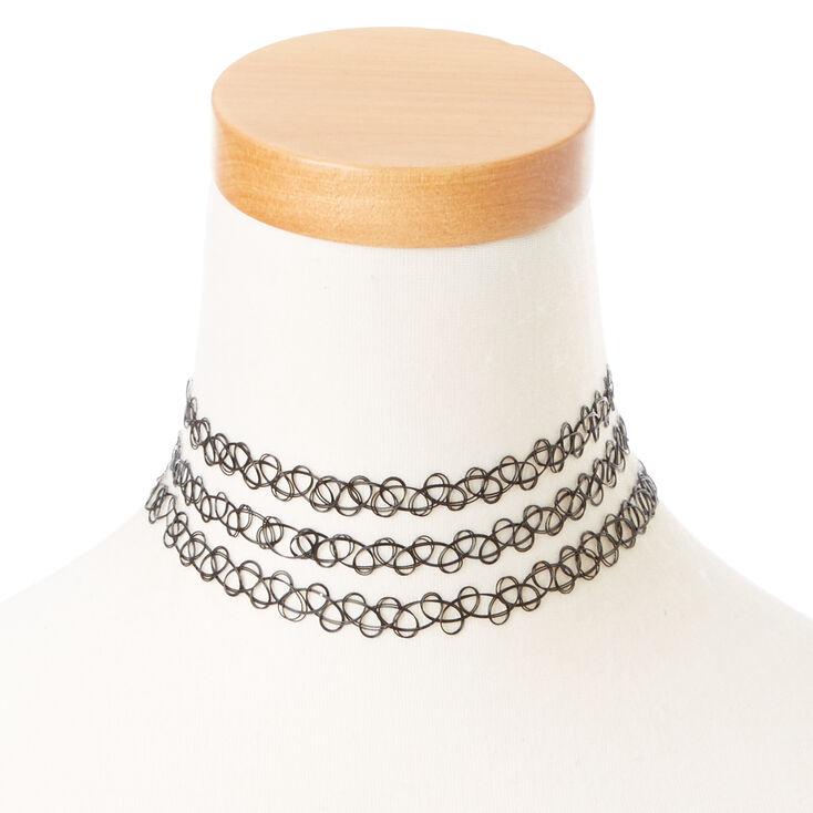 Black Triple Strand Tattoo Choker Necklace,