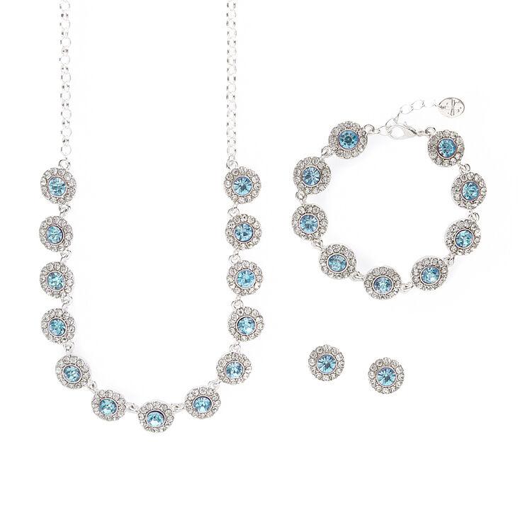 Pavé Rhinestone & Aquamarine Crystal Circles Statement Necklace, Bracelet & Stud Earrings Set,