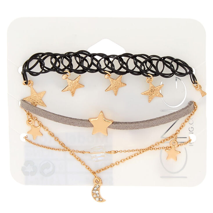 Gold Star & Moon Bracelets - 4 Pack,