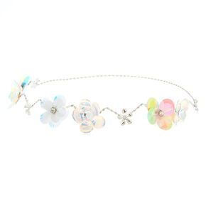 Holographic Mermaid Flower Crown Headwrap - Silver,
