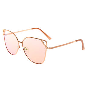 Diagonal Cut Out Cat Eye Sunglasses - Rose Gold,