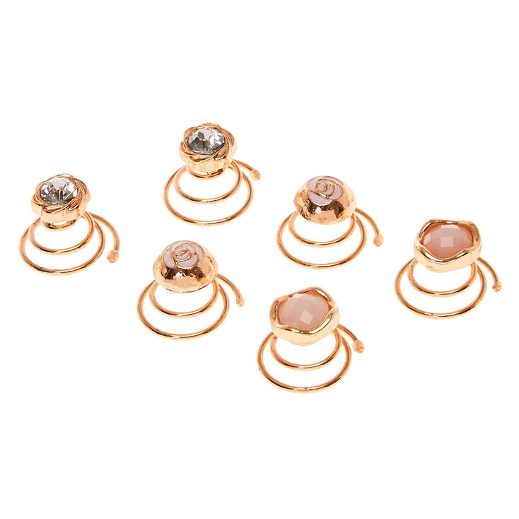 Rose Gold Stone Flower Hair Spinners,