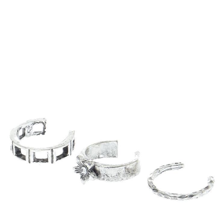Silver Flower Toe Ring Set,