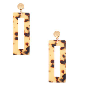"Gold 2.5"" Rectangle Tortoiseshell Drop Earrings - Brown,"