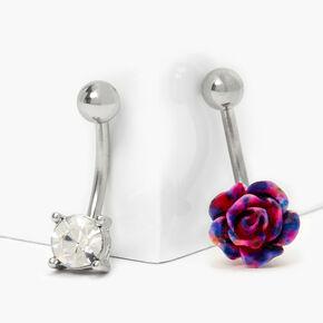 Silver 14G Tie Dye Rose Belly Rings - 2 Pack,