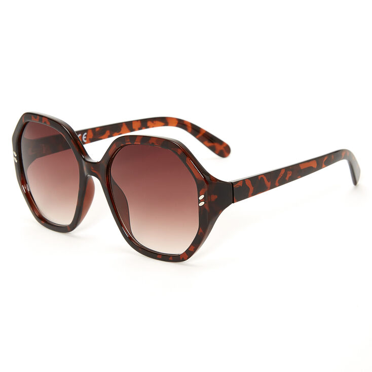 Oversized Octagon Tortoiseshell Sunglasses - Brown,