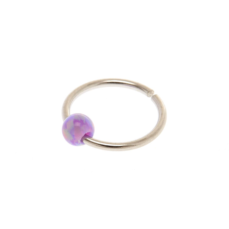 20G Purple & Pink Opal Nose Ring,