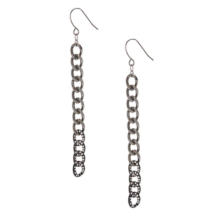 Black & Gray Chain Link Drop Earrings,