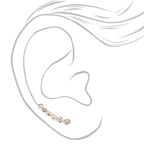 "Rose Gold 1"" Graduated Crystal Ear Crawler Earrings,"