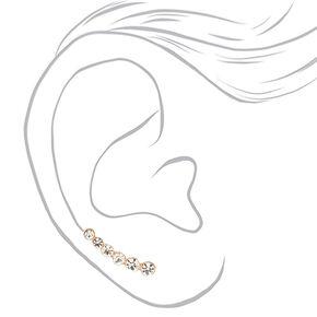 """Rose Gold 1"""" Graduated Crystal Ear Crawler Earrings,"""