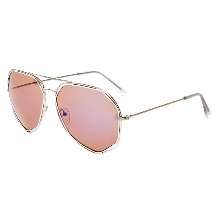 Geometric Aviator Sunglasses with Blue Lenses,