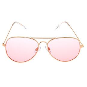 Pink Tinted Aviator Sunglasses,