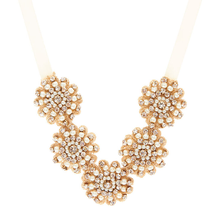 Champagne Crystal Embroidered Necklace,